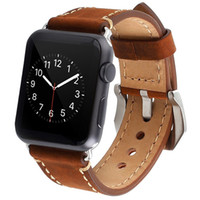 Wholesale Premium Watch Bands - Apple Watch Band, IWatch Band Strap Premium Vintage Genuine Leather Replacement Watchband with Secure Metal Clasp Buckle for Apple Watch
