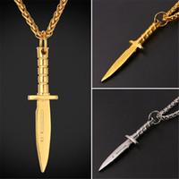 Wholesale Stainless Steel Sword Pendant - U7 Dagger Sword Pendant Necklace Stainless Steel Gold Plated Rope Chain for Men Weapons Hiphop Biker Jewelry GP2468