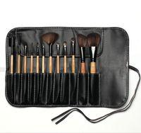 Wholesale Eyeshadow Leather Case - Wood 12 pcs Brushes Set Professional Makeup Charming Cosmetic Eyeshadow Brushes with Leather Case No logo DHL