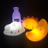 Wholesale Smiling Faces Lamps - Novelty Smile Face Cartoon Moon Led Night Light Sun Cloud Milk Night Lamps Kids Baby Bedside Light Children Girlfriend Gift
