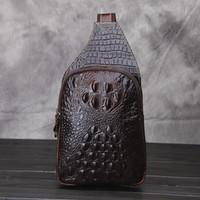 sacs à bandoulière achat en gros de-Motif Crocodile Sling Bag Brand New Hommes Deep Brown Vente Chaude En Cuir Loisirs Sling Sac de haute qualité Sacs De Sport pour Extérieur