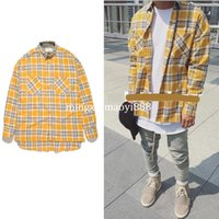 Wholesale Oversized Collar Shirt - 2017 NEW justin bieber FOG flannel Red yellow Scotland grid Men shirts Hiphop extended curved hem oversized Casual Cotton shirt