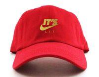 Wholesale Cap Hat Air - It's Lit Swoosh Custom Unstructured Dad Hat Adjustable Cap New-Red w  Gold bone TRAP JUST DO IT Air Japan Air Tokyo baseball Cap