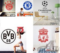 Wholesale Peel Stick Wall Paper - Football World Cup Logo Art Poster Mural Football Club Home Decor Mark Flag Soccer Sign Vinyl Decal Removable Wall Stickers Free