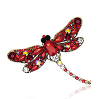 Wholesale Clear Rhinestone Crystal Dragonfly Brooch - New Fashion Lovely Clear Rhinestone Crystal Dragonfly Animal Silver Plate Brooch Pin for Women
