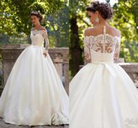 Wholesale cheap plus size wedding dresses online - Long Sleeves Wedding Dresses Sheer Neckline Appliques Sweep Train Chapel Country Bridal Gowns Vestido De Noiva Plus Size Cheap
