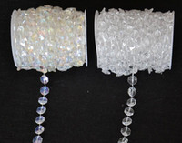 Wholesale Crystal Garland Curtains - Wholesale-30 Meters Diamond Crystal Acrylic Beads Roll Hanging Garland Strand Wedding Birthday Christmas Decor DIY Curtain WT052