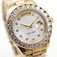 ingrosso orologi più grandi-Vendita calda orologio da polso di lusso in acciaio inossidabile Bracciale Presidente White Bigger Diamond Dial Lunetta ceramica orologi meccanici uomini orologi reloj