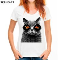 87e7c17e4a3 Womens Vêtements Tees Pas Cher Femmes Été Cool Glasseses Chat impression T- shirt mode personnalisé Imprimé Tops Vente Chaude T-shirts femmes blanc