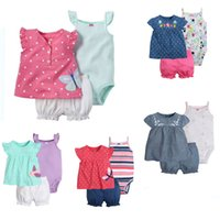 Wholesale Girls Dresses Three Pieces - Clothing Sets 3 pcs Dresses+Shorts Bloomers+Suspenders Rompers Boutique Newborn Baby Girls Kids Infant Toddlers Summer Floral Striped Dots