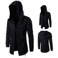 Wholesale Hooded Cloak Trench - Wholesale- 2017 Autumn Trench Men Windbreaker Long Cloak Coat Witch Cloak Hooded Jacket