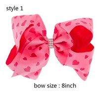 Wholesale Colour Clip - 8style available JoJo Siwa Larger 8inch Multi-Coloured Bow Print Signature Hair Bow CUTE hair clips 15pcs