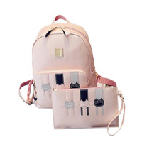Wholesale Leather Japanese Girls - Wholesale- 2017 New Cute Cat Printing Schoolbag Student Backpacks PU Leather Girl Travel Bag Japanese Teenagers Bag High Quality P451