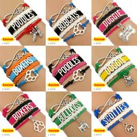 Wholesale Boxer Charms - (10 Pieces Lot) Infinity Love Dog Bracelet Poodles Bobcats Boxers Bulldogs Scotties Charm Bracelet In Memory of My Doggie Custom Any Themes