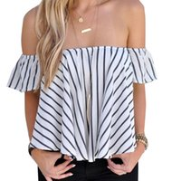 Wholesale Ladies Striped Tees - Fashion New 2016 Women Ladies Sexy Off Shoulder Striped T Shirts Tops Ruffle blusas Summer Casual Sleeveless Loose tee femme Z1