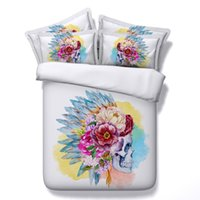 Wholesale Twin Size Colorful Bedding - Colorful Flowers Skull 3D Bedding Sets 4pcs Comforter Sets Tiwn Full Queen King Size Duvet Cover Bed Sheet Pillowcases cenery