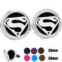 Wholesale Superman Silver - With Chain as gift! Silver Superman (30-38mm) Magnet Diffuser Car aromatherapy Locket Essential Oil 316 Stainless Steel Car Diffuser Lockets