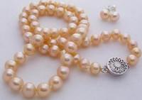 conjunto de brinco de pérola rosa venda por atacado-Natural 7-8mm Rosa Akoya Pearl Necklace Earring Set 18 polegadas 925 acessórios de prata