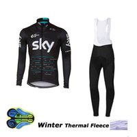 Wholesale Team Sky Bib Pants Thermal - 2017 winter thermal fleece team sky cycling jersey long sleeve Quick-Dry Racing Bicycle ropa ciclismo bike cloth bib pants gel pad