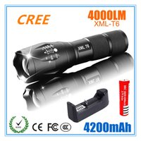 Wholesale Diving 3x - 2017 LED Flashlight 18650 torch waterproof rechargeable CREE XM-L T6 4000LM 5 mode led Zoomable light For 3x AAA or 3.7v Battery