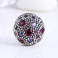 Wholesale 925 Silver Bead Stopper - Cosmic Stars Beads for Jewelry Making Authentic 925 Sterling Silver Jewelry Purple AAA CZ Clip Stopper Charm Beads Fits Brand Diy Bracelet