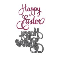 Wholesale Paper Holiday Cards - 1pcs Metal Steel Happy Easter Holiday Gift Cutting Dies Stencil For DIY Scrapbooking Album Paper Card Photo Decorative Craft