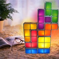 Wholesale Led Cube Tables - Tetris Puzzle Desk Lamp LED Constructible Block Table bed small Decorative Stackable Night Light- Novelty magic puzzle cube Christmas Gift