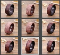 Wholesale Vikings Flag - New Arrival Vintage Handmade Brown Tree Of Life China Lucky Knot wide Cuff Wristband Retro Male Viking Jewelry Men leather
