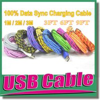 Wholesale Iphone Chargers Ft - A+++ Quality 1M 2M 3M 3 FT 6FT 9FT Durable Fabric Fiber Braided Micro USB Cable Sync Data Cord Charger for Samsung Galaxy S3 S4 Note 2 OM-E3