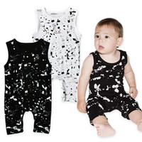 no paint jumpsuit - Baby doodles dots printing jumpsuit infants boys girls cute Graffiti Paint spots print shoulder button sleeveless romper for T