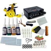 Wholesale Tattoo Kits For Cheap Beginner - Cheap Tattoo Machine Set 1 Coils Guns 4 Colors Ink Power Supply Tattoo Kits for Beginner Permanent Makeup Tattoo Kit Cheap