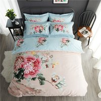 Wholesale Aqua Print Comforter - Romantic pastoral style cotton bed four sets soft and comfortable bedroom Floral pattern bed sheet and duvet cover