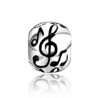 Wholesale Musical Element - Round Musical Notes 100% 925 Sterling Silver Charm Beads Fits Pandora European Charms Bracelet