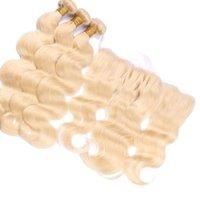 613 fermeture frontale blonde achat en gros de-Blonde Hair Bundles Avec Dentelle Frontale Fermeture 613 Vague de Corps Malaisienne Virgin Hair Weaves Et Ear To Ear Dentelle De Fermeture 4pcs Lot