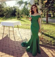 Wholesale Real Image Evening Dresses - Real Photos Vintage Woman Long Mermaid Sleeveless V-neck Evening Dress New Green Custom Made Backless Zipper Pleated Prom Gown Available