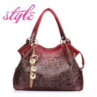 Wholesale Lace Woman Handbag - women bag hollow out ombre handbag floral print shoulder bags ladies pu leather tote bag red gray blue