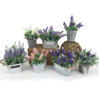 Wholesale Wholesale Lavender Silk Flowers - Artificial Lavender Plants With Metal Pots Table Flower Whitewashed Potted plant for Wedding Holiday Special days Home Decor 125 -1067
