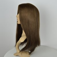 Wholesale Top Selling Lace Front Wigs - Top selling straight small layer silk top 8# light brown Mongolian remy human hair Wigs for Jewish women