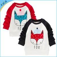 2017 neue Design Fox Langarm Winter Dicker Interloop Baby T-shirt Kinder Clothiing Mädchen Jungen Kinder Baumwolle T-shirt