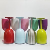 Wholesale India Stocks - 2017 Hot 10oz New Style WINE GLASS Cup Stainless Steel Tumbler True North Metal Goblet With Lid 9 Colors IN STOCK