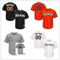 Wholesale Gray Black Jersey - Custom Lady or Youth Miami Marlins Womens or Kids Gray Orange Black White Authentic Collection Personalized Baseball Jerseys Top Quality
