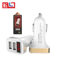 Wholesale brand monitors - Dual ports USB car charger with LED Monitor 5v 2A smart car charger for Iphone 7 8 Samsung S7 S8