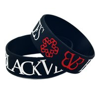 Wholesale Silicone Jelly Logo - Wholesale Shipping 50PCS Lot 1'' Wide Band Black Veil Brides With Logo Silicone Bracelets Wristband Promotion Gift