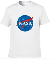Crew Neck space and universe - Factory direct U S National Aeronautics and Space Administration NASA space universe science fiction foreign trade round cotton men s T shi