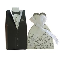 Wholesale Gown Boxes Wholesale - Wholesale-100Pcs=50pair set Bride and Groom Dress Gown Wedding Favor Candy Gift box For Weeding decoration