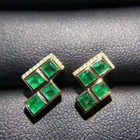 Brand New Whosesale 925 Sterling Silver com 18K Gold Plated Natural Emerald Earrings para Mulheres Gemstone Fashion Jewelry Party
