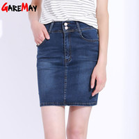 Wholesale Knee Skirt Denim Blue - Women Skirt Plus Size High Waist Office Pencil Skirt Elastic Saias Midi Modas Button Jupe En Jean Femme Faldas Vaqueras GAREMAY