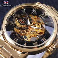 Wholesale Steampunk Transparent Skeleton - Forsining Retro Roman Number Display Mechanical Steampunk Design Transparent Mens Watches Top Brand Luxury Skeleton Wrist Watch