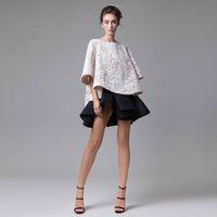 corto tutú vestidos de noche al por mayor-Vestido formal blanco y negro clásico Diseño simple Top Tutu de falda corta 3-D Applique medio vestido de fiesta de baile de fin de curso Prom Dresses