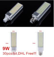 Wholesale G24 44 - Factory wholesale LED Corn Light E27 G24 9W 44 SMD5050 LED Plug Light Bulb Lamp Warm White Cold White 85-265V Fedex DHL Free
